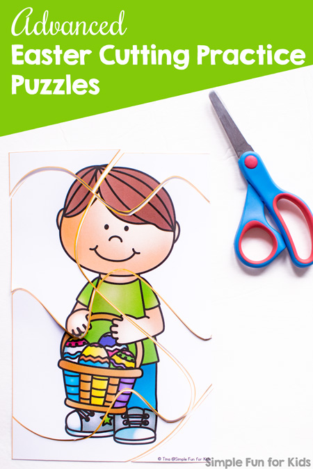 My kindergartener is really good at cutting but these advanced cutting lines were a challenge even for her! These cute printable Easter Cutting Practice Puzzles provide both challenging cutting practice and a fairly challenging puzzle!