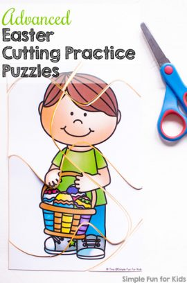Easter Cutting Practice Puzzles Printable