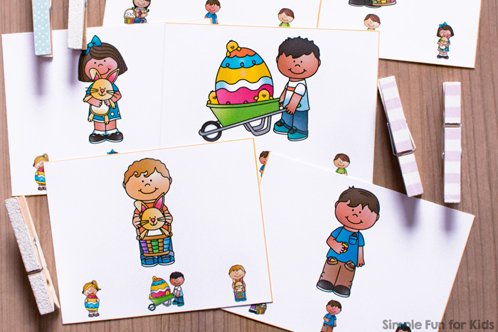 Is your toddler getting tired of my printable matching games? Here's the next step up: Easter Kids Matching Clip Cards! Great fine motor practice for toddlers and preschoolers.