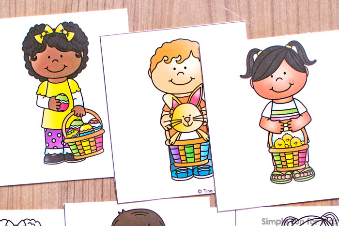 Check out this super cute printable Easter Kids Matching Game for Toddlers! Perfect for practicing 1:1 correspondence, visual discrimination, fine motor skills, and more with boys, girls, Easter eggs, chicks, and a bunny.
