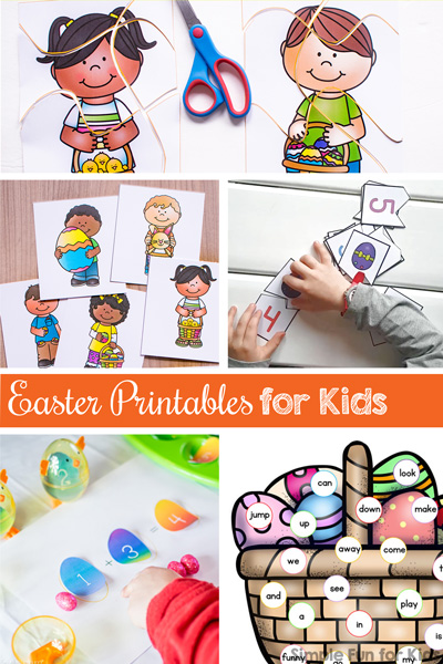Lots of Easter printables for kids of all ages, from toddlers to preschoolers and kindergarteners! Math, literacy, addition, cutting practice, matching games, puzzles, sight words, and more!