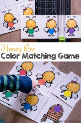 Honey Bee Color Matching Game Printable