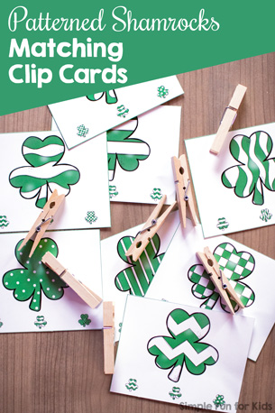 Do a fun, simple St. Patrick's Day-themed matching activity while also working on fine motor activities with these Patterned Shamrocks Matching Clip Cards! Perfect for toddlers and preschoolers.
