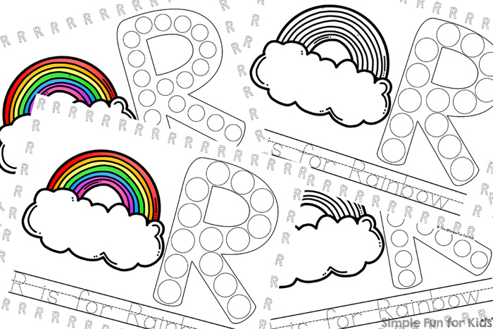 R is for Rainbow Dot Marker Coloring Pages - Simple Fun for Kids