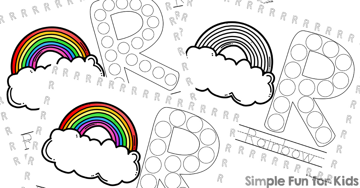 r is for rainbow dot marker coloring pages printable simple fun