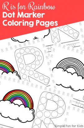 R is for Rainbow Dot Marker Coloring Pages