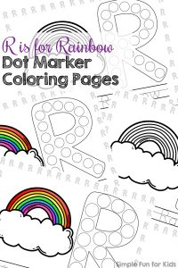 Learn letters with these cute, printable R is for Rainbow Dot Marker Coloring Pages! Perfect for a variety of skills, from coloring to dotting to tracing and even reading. For toddlers and preschoolers. (Day 5 of the 7 Days of St. Patrick's Day Printables for Kids.)