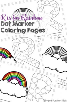 R is for Rainbow Dot Marker Coloring Pages Printable