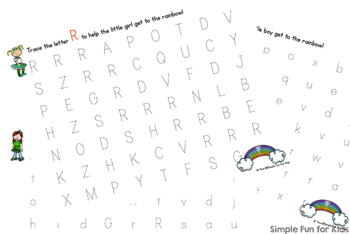 Practice writing upper and lower case letter R with these printable R is for Rainbow Handwriting Letter Mazes! Great for preschoolers and kindergarteners who are learning to write. (Day 2 of the 7 Days of St. Patrick's Day Printables for Kids series.)