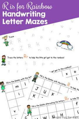 R is for Rainbow Handwriting Letter Mazes