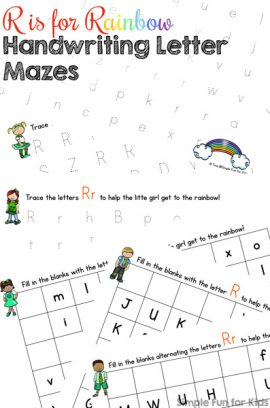 R is for Rainbow Handwriting Letter Mazes Printable
