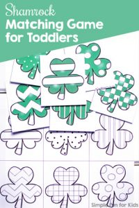 Match six shamrocks with different patterns in this simple, printable Shamrock Matching Game for Toddlers! Practice visual discrimination, 1:1 correspondence, and more with a St. Patrick's Day theme. (Day 3 of the 7 Days of St. Patrick's Day Printables for Kids series.)