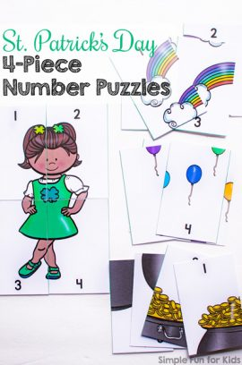 St. Patrick's Day 4-Piece Number Puzzles Printable
