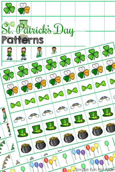 Practice AB, AABB, and ABC patterns and create your own with these cute printable St. Patrick's Day Patterns! Simply cut and paste, great for preschoolers and kindergarteners. (Day 6 of the 7 Days of St. Patrick's Day Printables for Kids series.)