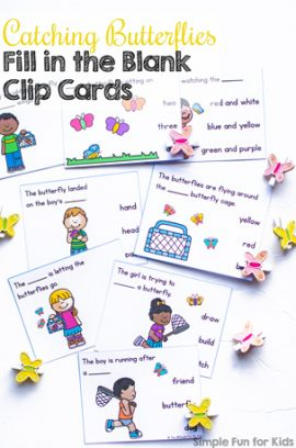 Catching Butterflies Fill in the Blank Clip Cards