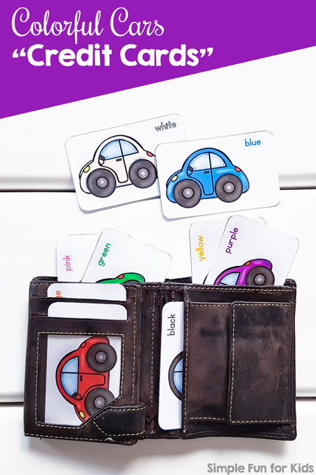 "Does your toddler like playing with an old wallet? He or she will love these cute printable Colorful Cars ""Credit Cards"" to stick in the wallet! Includes nine different colors and color names."