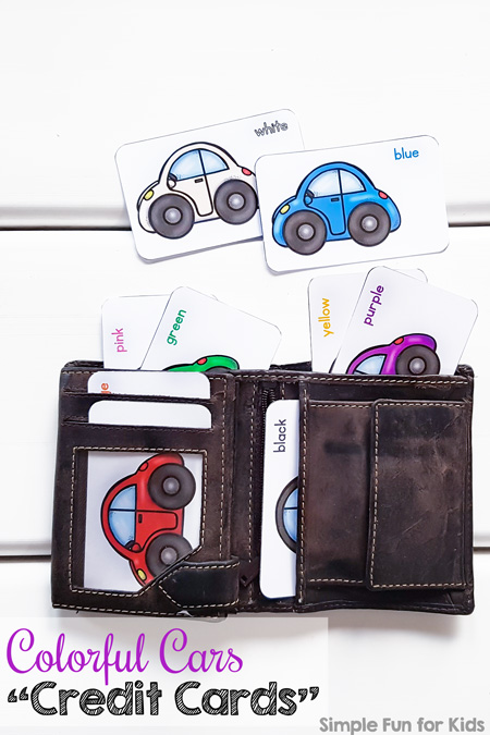 """Does your toddler like playing with an old wallet? He or she will love these cute printable Colorful Cars """"Credit Cards"""" to stick in the wallet! Includes nine different colors and color names."""