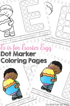 E is for Easter Egg Dot Marker Coloring Pages