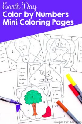 Earth Day Color by Numbers Mini Coloring Pages
