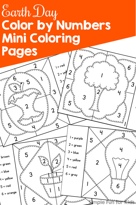 Celebrate Earth Day in a fun educational way with these printable Earth Day Color by Number Mini Coloring Pages! Perfect for preschoolers and kindergarteners practicing number recognition 1-6 and great for busy bags.