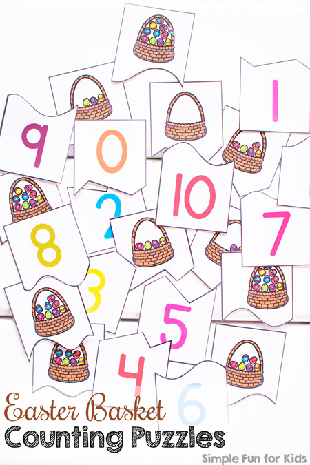 Practice counting from 0-11 with these cute Easter egg-filled Easter Basket Counting Puzzles! 2-piece puzzles for preschoolers and kindergarteners. (Day 2 of the 7 Days of Easter Printables for Kids.)