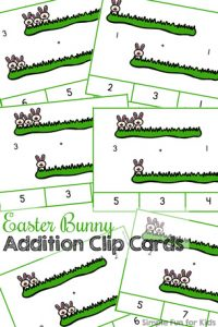 So cute! Practice addition up to 5 with these printable Easter Bunny Addition Clip Cards! Perfect for kindergarteners who are learning to add! (Day 6 of the 7 Days of Easter Printables for Kids.)
