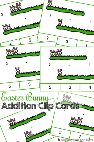 Easter Bunny Addition Clip Cards Printable