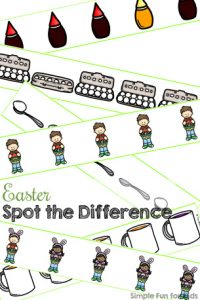 This cute Easter Spot the Difference printable is a fun way to practice visual discrimination for toddlers and preschoolers. 2 levels of difficulty. (Day 5 of the 7 Days of Easter Printables for Kids.)