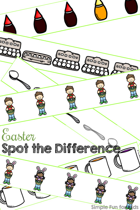 photograph relating to Spot the Difference Printable called Easter Place the Variation Printable - Straightforward Exciting for Young children