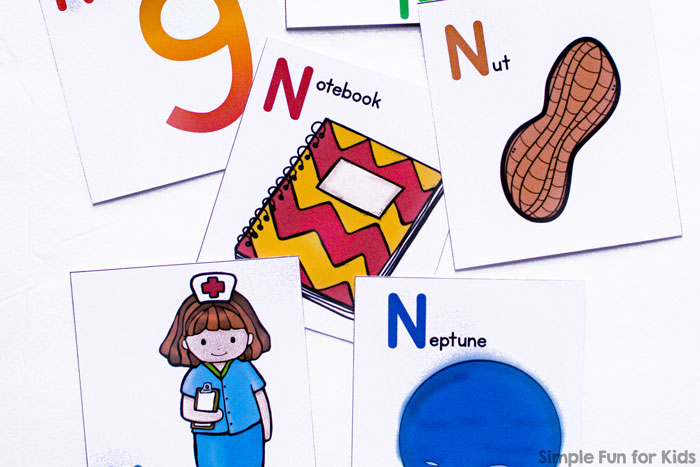 Learn about the letter N with this cute printable Letter N Picture Matching Game! Perfect for toddlers and preschoolers who are learning their letters.