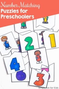 Practice numbers 1-12 with these cute matching puzzles for preschoolers and kindergarteners!
