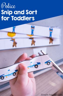 Police Snip and Sort for Toddlers Printable