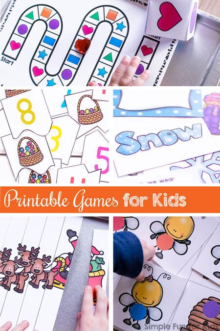 Want to add some fun to many different learning objectives? Try these printable games for kids! Includes games for toddlers, preschoolers, and kindergarteners covering colors, shapes, numbers, sight words, and more!