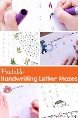 Printable Handwriting Letter Mazes for Kids