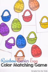 Match the colors and put the eggs in the baskets with this cute printable Rainbow Easter Egg Color Matching Game for toddlers and preschoolers! (Day 1 of the 7 Days of Easter Printables for Kids series.)