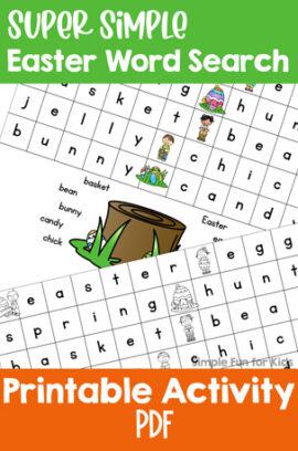 Super Simple Easter Word Search for Kindergarteners
