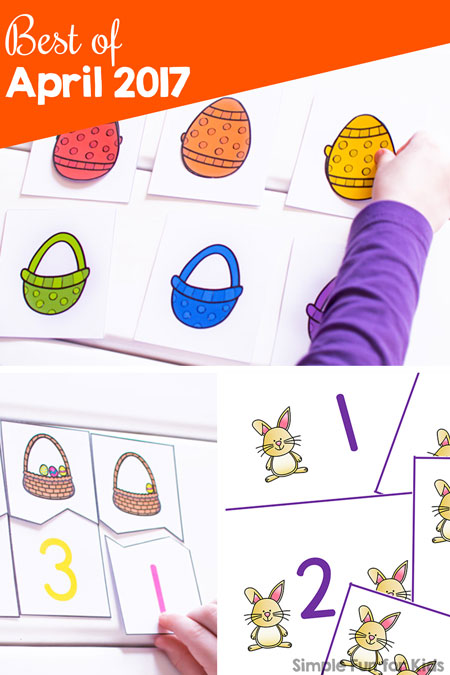 Check out the best new posts of April 2017 on Simple Fun for Kids! Printables, math, literacy, Easter, clip cards, counting cards, puzzles, matching games, mazes, and more for toddlers, preschoolers, and kindergarteners.