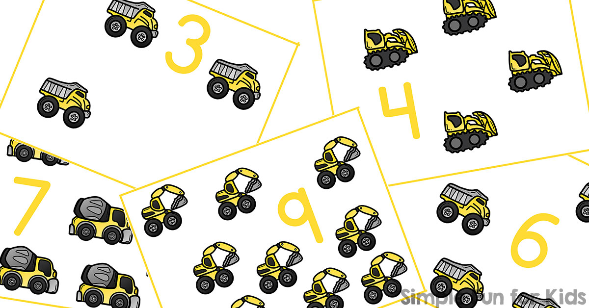 construction vehicles counting cards simple fun for kids. Black Bedroom Furniture Sets. Home Design Ideas