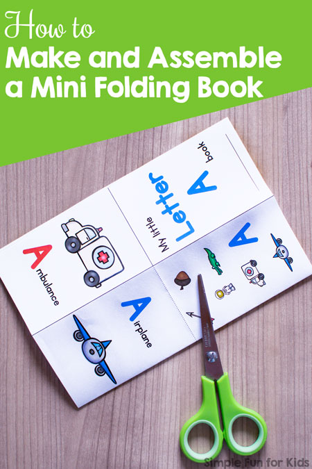 How to make a mini folding book with a single sheet of paper, minimal cutting, and no gluing or stapling! No duplex printing required.