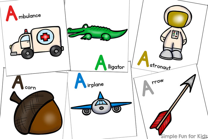 Literacy printables for kids: Find out more about letter A with this cute printable Letter A Matching Game for toddlers and preschoolers!