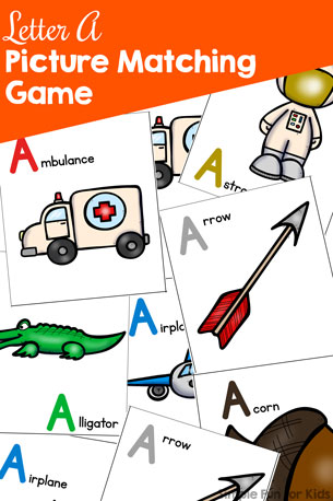 Letter A Picture Matching Game Printable