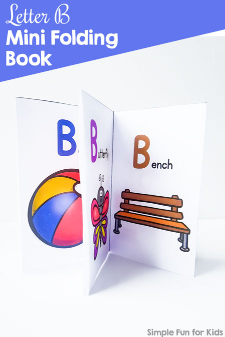 Learn about the letter b with this cute, colorful, printable Letter B Mini Folding Book! (Includes a black and white version, too.) This tiny book is made from one sheet of paper with minimal cutting and perfect for little hands of toddlers and preschoolers.