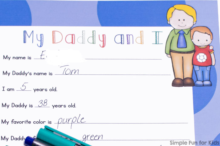 This printable My Daddy and I Father's Day Survey is so cute! Simple questions to ask your preschooler or kindergartener about his or her relationship with daddy make for a great keepsake to look back on in years to  come.