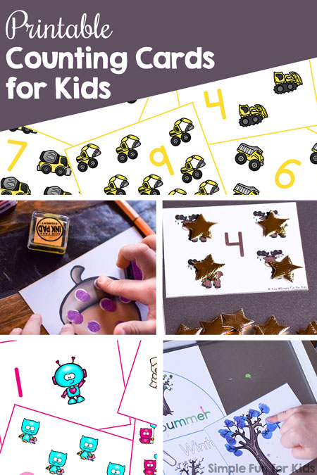Printable Counting Cards for Kids are an awesome, fun way to explore numbers, number recognition, counting, 1:1 correspondence, and more for early childhood learners! Toddlers, preschool, kindergarten.