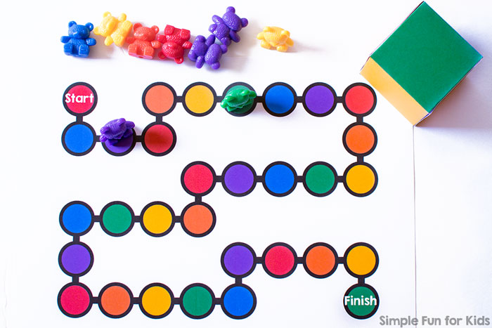 Learn about colors with this super simple, printable Rainbow Colors Board Game for toddlers and preschoolers! Includes a custom dice.