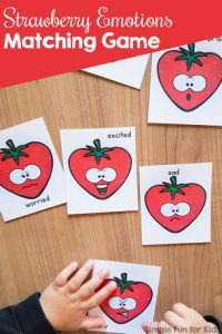 Explore emotions in a playful way with this cute printable Strawberry Emotions Matching Game! Great as a conversation starter for toddlers and preschoolers.