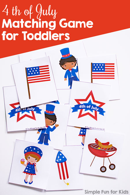 This cute printable 4th of July Matching Game is perfect for little toddler and preschooler hands and attention spans. Play different levels of matching and memory games on all patriotic holidays.