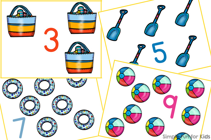 Practice counting and number recognition with this cute set of printable Beach Gear Counting Cards! Includes numbers 1 through 12, perfect for toddlers, preschoolers, and kindergarteners.