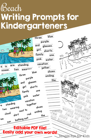 Get ready for summer and/or stop the summer slide with these cute, printable, (mostly) no prep Beach Writing Prompts for Kindergarteners! Four versions in both color and black and white plus fully editable versions where you can easily enter your own words!