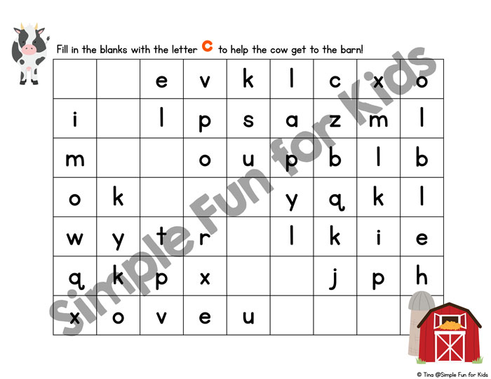Learn and practice writing the letter C with these cute printable C is for Cow Handwriting Letter Mazes! Includes tracing and fill in the blank versions in upper, lower, and mixed case for preschoolers and kindergarteners.